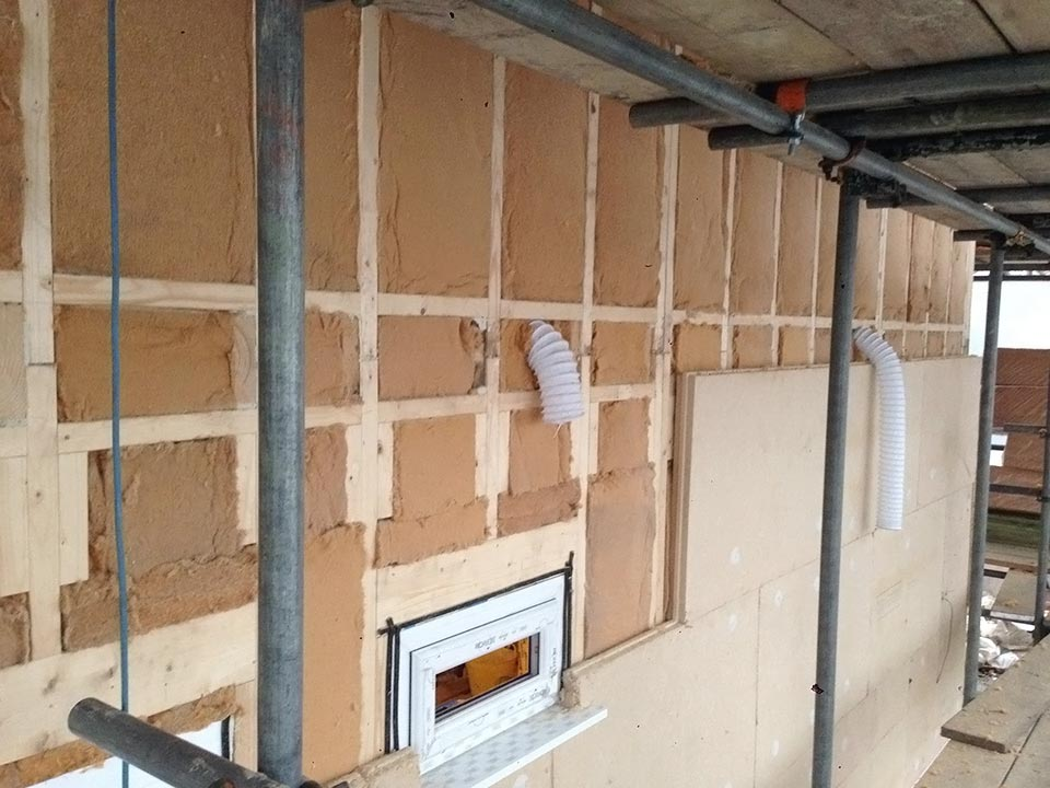 Timber frame Pavatex wall insulation